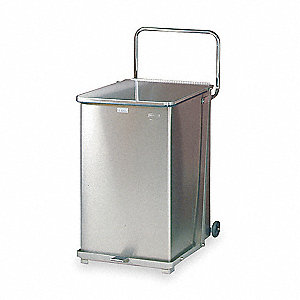 "Defender 40 gal. Square Flat Top Decorative Trash Can, 30""H, Silver"