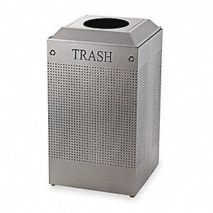"SILHOUETTE 29 gal. Square Open Top Decorative Fire-Resistant Trash Can, 32-3/8""H, Silver"
