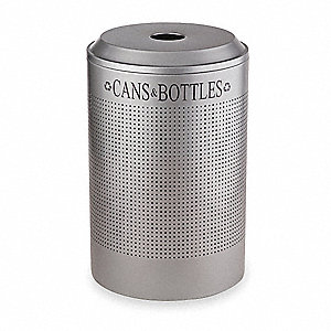 26 gal. Silver Stationary Recycling Container, Bottles and Cans Top