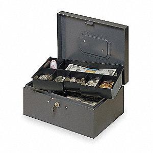 CASH BOX,GRAY,10-1/4X7-1/4X4-3/8