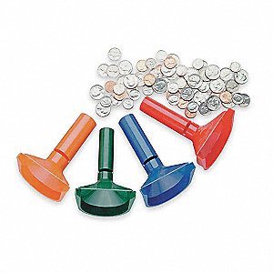 Coin Counting Tubes, 50 Pennies, 40 Nickels, 50 Dimes, 40 Quarters Capacity, Manual