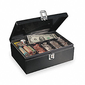 Cash Box,Black,11x7-3/4x4