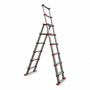 Aluminum Telescoping Ladder, 7-5/12 ft. Extended Ladder Height, 300 lb. Load Capacity