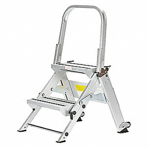 "Aluminum Folding Step, 34"" Overall Height, 375 lb. Load Capacity, Number of Steps: 2"
