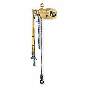 Air Chain Hoist, 2000 lb. Load Capacity, 20 ft. Lift, 0 to 13 fpm, 70 scfm