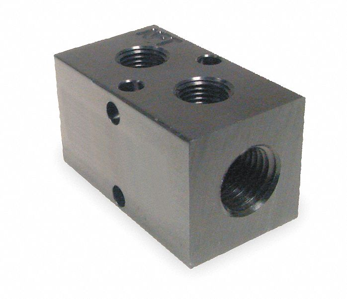 Manifold,  3/8 in Inlet Size,  1/4 in Outlet Size,  NPT,  Black Anodized Aluminum