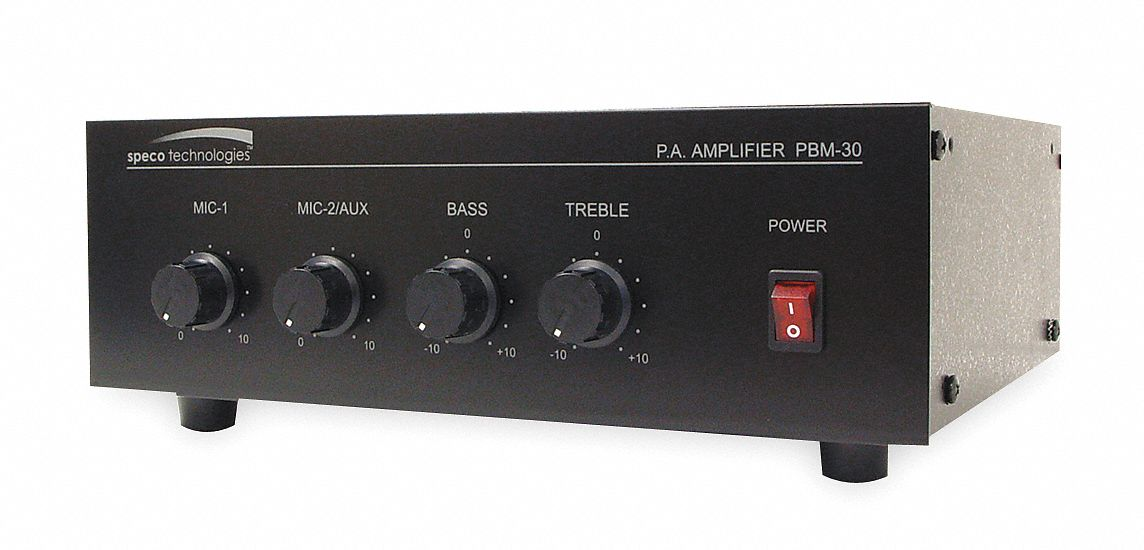 PA Amplifier,  30 W Output Watts,  3 1/2 in Height (In.),  9 1/2 in Width (In.)