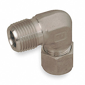 "Male Elbow, 90°, 1"" Tube Size, 1"" Pipe Size - Pipe Fitting, Metal, 1-3/8"" Hex Size"