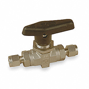 "316 Stainless Steel Comp. x Comp. Ball Valve, Lever, 3/8"" Pipe Size"