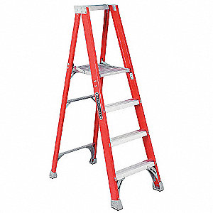 "Fiberglass Platform Stepladder, 5 ft. 7"" Ladder Height, 3 ft. 9"" Platform Height, 300 lb."