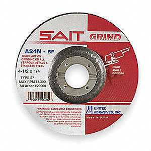 "4-1/2"" x 1/4"" Depressed Center Wheel, Aluminum Oxide, 7/8"" Arbor Size, Type 27, A24N"