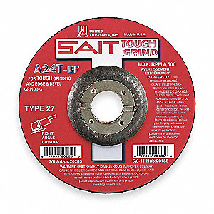 "4-1/2"" x 1/4"" Depressed Center Wheel, Aluminum Oxide, 7/8"" Arbor Size, Type 27, A24T"