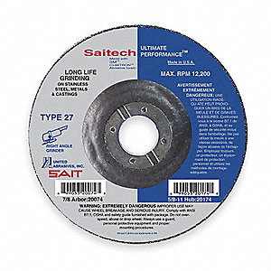 "4-1/2"" Type 27 Ceramic Depressed Center Wheels, 7/8"" Arbor, 1/4""-Thick, 13,300 Max. RPM"