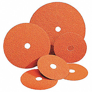 "5"" Coated Fiber Disc, 7/8"" Mounting Hole Size, Coarse, 50 Grit Ceramic, 25 PK"
