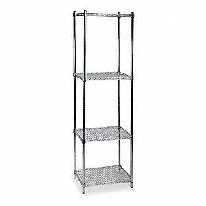 "24"" x 18"" x 85"" Steel Wire Shelving Unit, Silver&#x3b; Number of Shelves: 4"