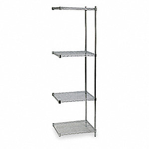 "Wire Shelving,Add-On,85"" H,Zinc"