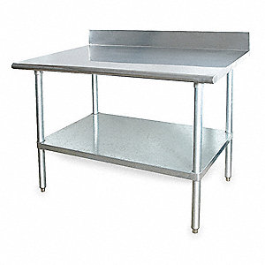 "Fixed Height Work Table, Stainless Steel, 30"" Depth, 34-1/2"" Height, 72"" Width,600 lb. Load Capacity"