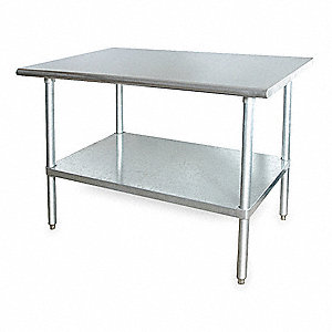"Fixed Height Work Table, Stainless Steel, 24"" Depth, 34-1/2"" Height, 72"" Width,600 lb. Load Capacity"