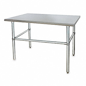 "Fixed Height Work Table, Stainless Steel, 30"" Depth, 34-1/2"" Height, 48"" Width,600 lb. Load Capacity"