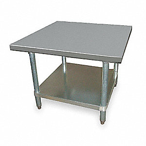 "Fixed Height Work Table, Stainless Steel, 24"" Depth, 24"" Height, 24"" Width,600 lb. Load Capacity"