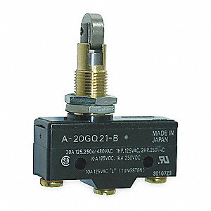 Industrial Snap Switch, SPDT Contact Form, 125/250/480VAC Voltage Rating, 20A Current Rating
