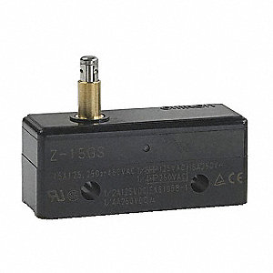 Industrial Snap Switch, SPDT Contact Form, 125/250VAC Voltage Rating, 15A Current Rating
