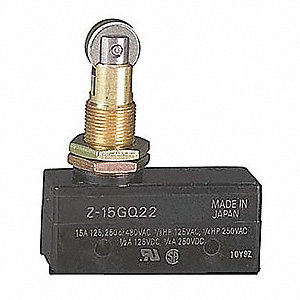 15A @ 480V Panel Mount, Plunger, Roller Industrial Snap Action Switch; Series Z