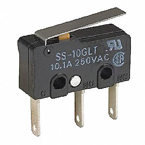 Sub-Miniature Snap Switch, SPDT Contact Form, 125/250VAC Voltage Rating, 10A Current Rating