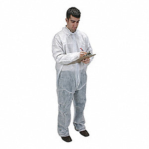 Collared Disposable Coveralls with Open Cuff, Polypropylene Material, White, M