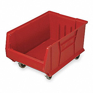"Mobile Hopper Bin, Red, 11""H x 29-7/8""L x 16-1/2""W, 1EA"