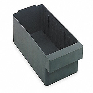 "Drawer Bin, Gray, 4-5/8""H x 17-5/8""L x 5-9/16""W, 1EA"
