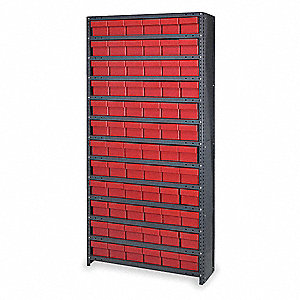 "Enclosed Bin Shelving,75"" H,72 Bins,Red"