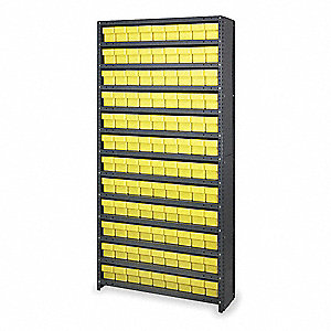 "Steel Enclosed Bin Shelving with 108 Bins, 36""W x 18""D x 75""H, Load Capacity: 5200 lb., Black"