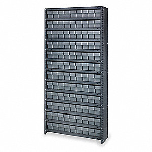 "Steel Enclosed Bin Shelving with 108 Bins, 36""W x 18""D x 75""H, Load Capacity: 5200 lb., Gray"