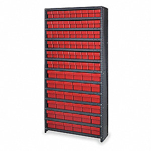 "Steel Enclosed Bin Shelving with 90 Bins, 36""W x 18""D x 75""H, Load Capacity: 5200 lb., Black"