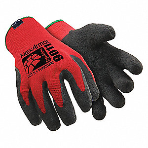 Natural Rubber Latex Cut Resistant Gloves, ANSI/ISEA Cut Level 5 Lining, Black, Red, 2XL, PR 1
