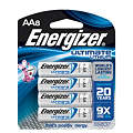 AA Standard Battery, Energizer Ultimate, Lithium, PK8