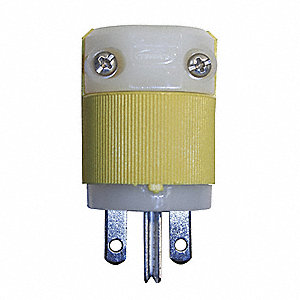 Straight Blade Plug, 15 Amps, 250VAC Voltage, NEMA Configuration: 6-15P, Number of Poles: 2