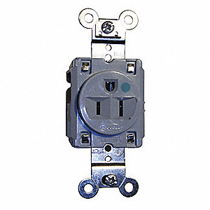 Receptacle,Single,15A,5-15R,125V,Gray