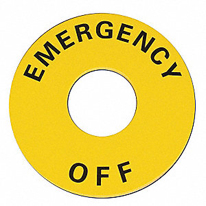 22mm Round Emergency Off Legend Plate, Plastic, Black/Yellow