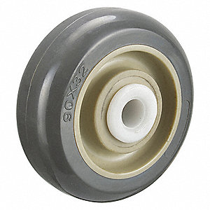 "3-1/2"" Caster Wheel, 360 lb. Load Rating, Wheel Width 1-1/4"", Polyurethane, Fits Axle Dia. 1/2"""