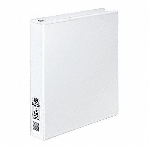 "White 1"" 3-Ring Binder, 8-1/2"" x 11"" Sheet Size, Polypropylene, 175 Sheet Capacity - Binders"