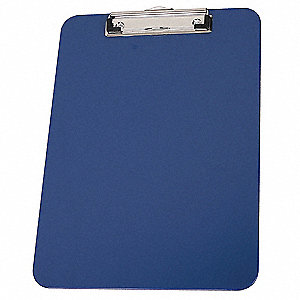 "8-7/8"" x 12-3/8"" Plastic Clipboard with Low Profile Clip, Royal Blue"