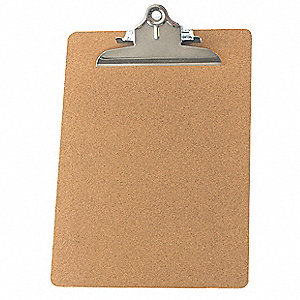 "Brown Masonite Clipboard, Letter File Size, 9"" W x 12-1/2"" H, 1/2"" Clip Capacity, 1 EA"
