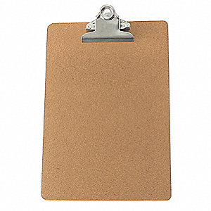 "7"" x 10-7/16"" Hardboard Clipboard with Butterfly Clip, Brown"
