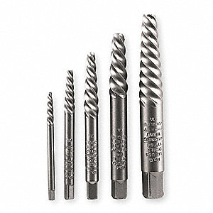 Screw Extractor Set, Spiral Flute, 5 Pcs