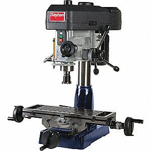 "Mill/Drill Machine, 3/4 Motor HP, 16"" Swing, 115 to 2580 RPM"