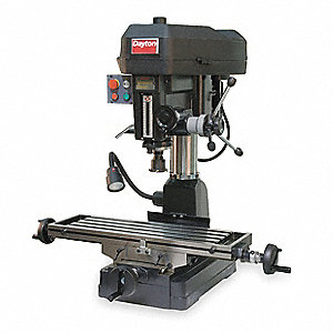 "Mill/Drill Machine, 1-1/2 Motor HP, 16"" Swing, 150 to 3000 RPM"