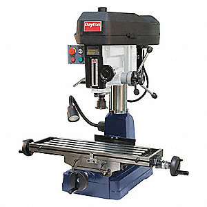 "Mill/Drill Machine, 1-1/2 Motor HP, 16"" Swing, 1725 RPM"