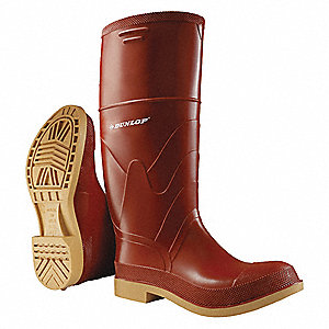 "15""H Men's Knee Boots, Steel Toe Type, Polyurethane and PVC Upper Material, Brick Red, Size 12"
